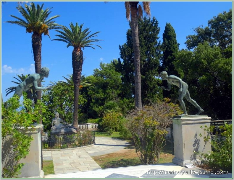 Achilleon on the island of Corfu - the Greek orphanage of the Austrian empress Achilleon, Achilleon, Sissi, palace, Corfu, courtyard, empress, island, which, life, Achilles, war, statue, front, only, after, Palace, Greece, Dying, world