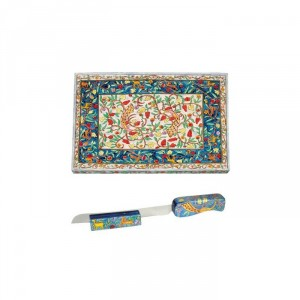 11917_yair_emanuel_wooden_challah_board_set_with_oriental_design_view_1