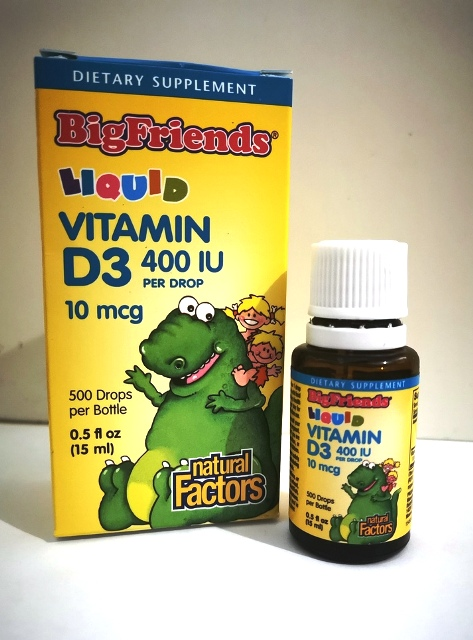 Natural Factors, Big Friends, Liquid Vitamin D3, 10 mcg 400 IU, 0.5 fl oz (15 ml)