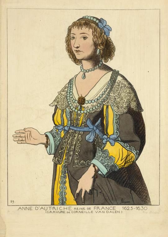 Anne d'Autriche reine de France. 1625-1630. (Gravure de Corneille Van Dalen.) (1625-1630)