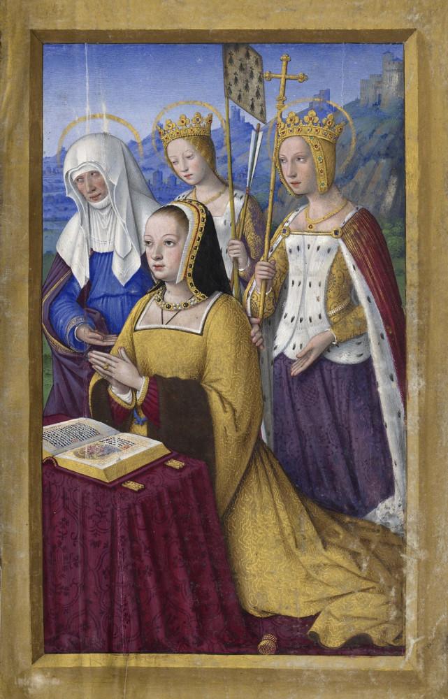 BNF_-_Latin_9474_-_Jean_Bourdichon_-_Grandes_Heures_d'Anne_de_Bretagne_-_f._3r_-_Anne_de_Bretagne_entre_trois_saintes