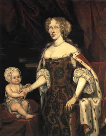 constantyn-netscher-portrait-of-gr,fin-bose-()-with-a-child-seated-beside-her