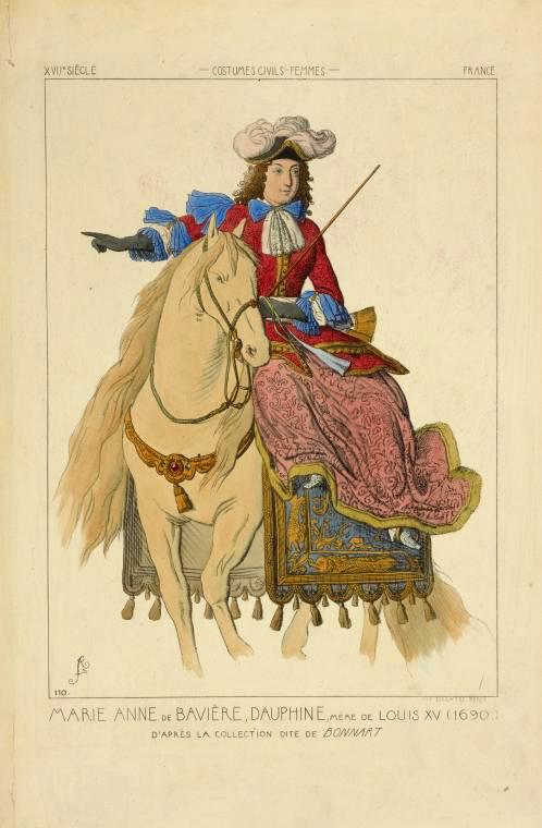Marie Anne de Bavière, dauphine, mère de Louis XV (1690.) D'après la collection dite de Bonnart. XVIIe siècle, costumes ... (1690)