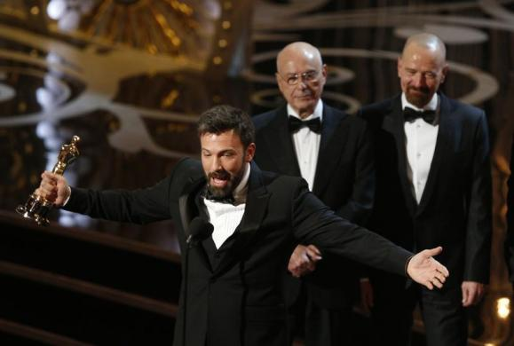 Ben Affleck accepts the award for best motion picture for Argo