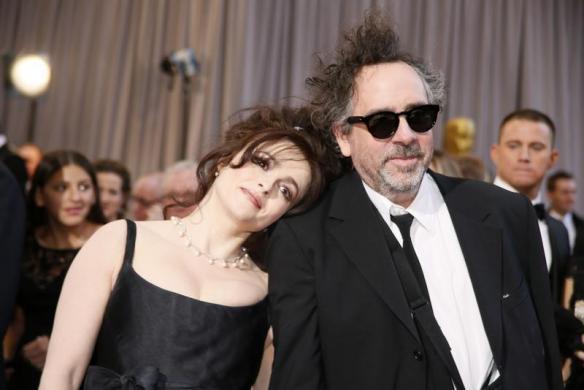 Helena Bonham Carter rests her head on the shoulder of her partner director Tim Burton
