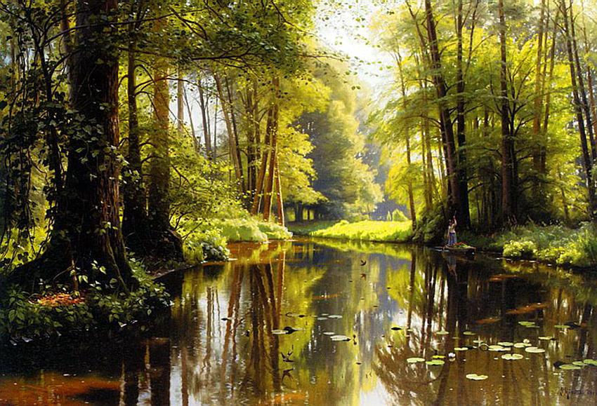 Лес с озером зарубежные художники
