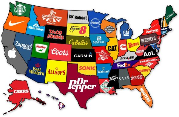 USA brand map бренды США карта маркетолухи