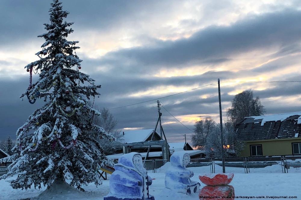 Зима на Новый Год в северной глубинке России