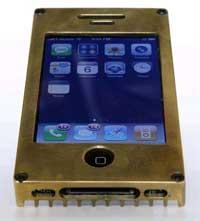 iphone in a brass case.