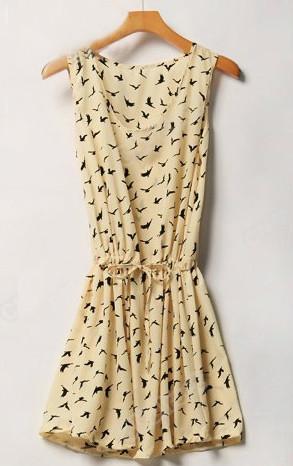 платье с ласточками
