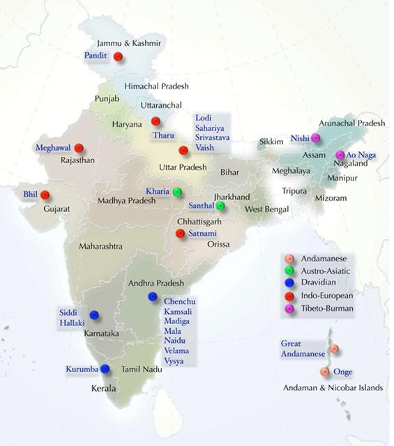 Этническая карта Индии