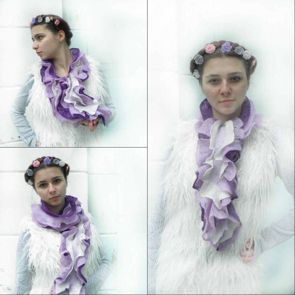 коллаж сиреневый шарф