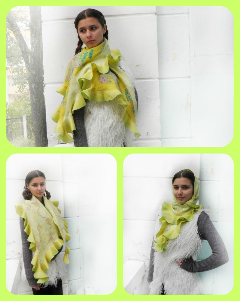 коллаж шарф лимонный