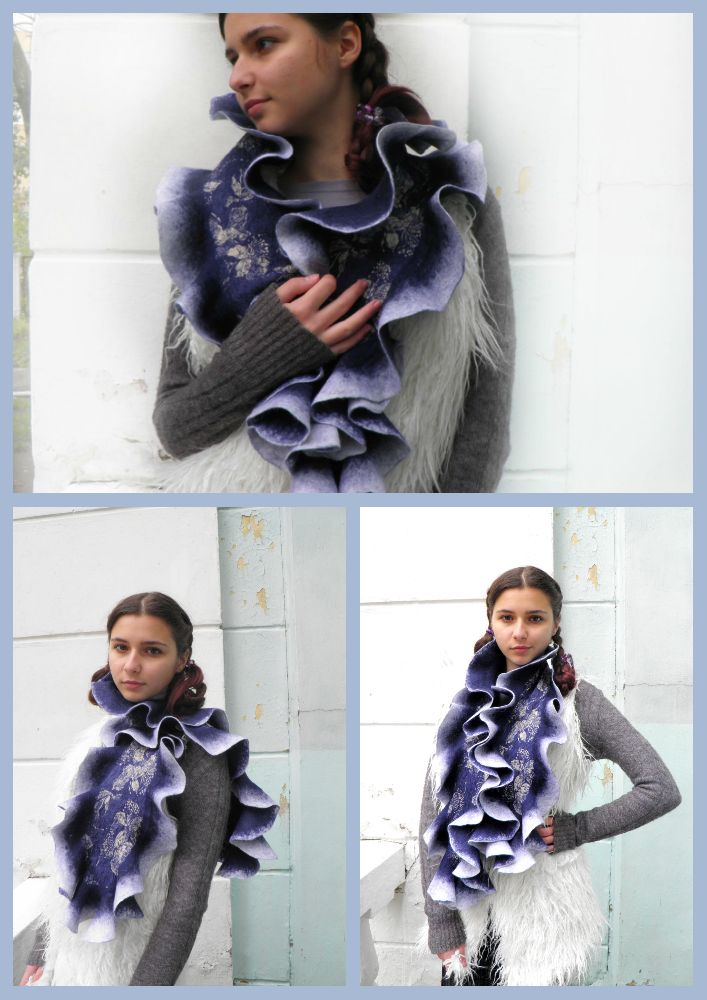 синий шарф коллаж