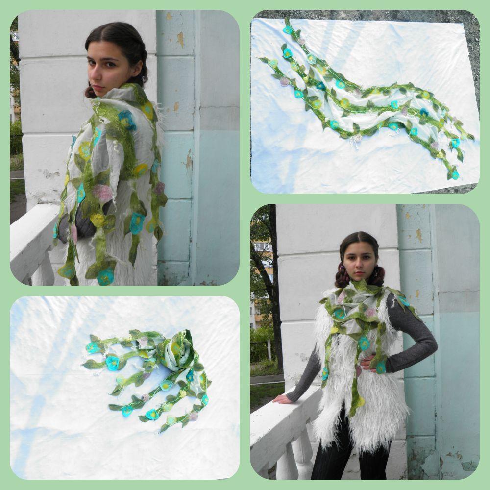 шарф весенний сад коллаж