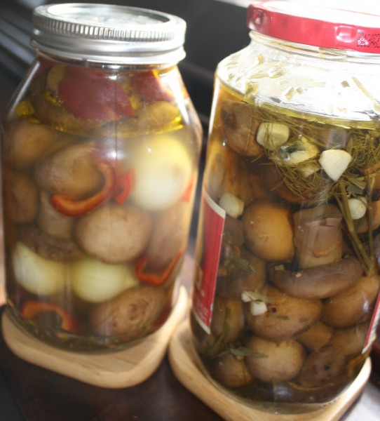 Zagotovki Mushrooms marinated with bell peppers onion marinated with dill garlic