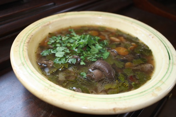 Mushroom-bean soup vegetables from our garden