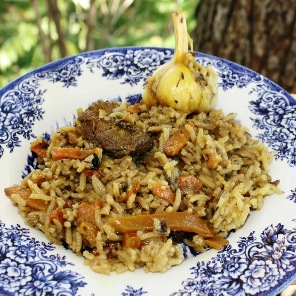 Soviet food Plov with pork 2