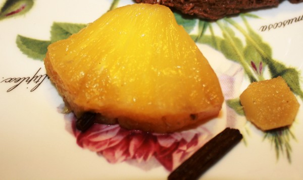 Pineapple roasted in rum with spices