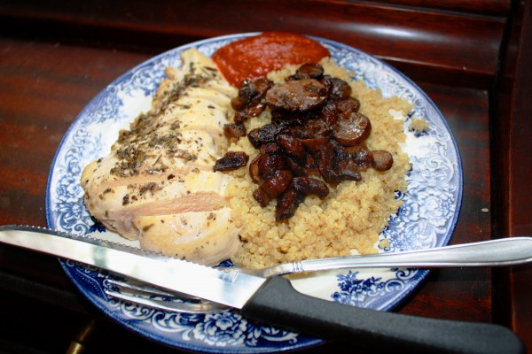 Mushrooms Button mushrooms on quinoa with chicken breast