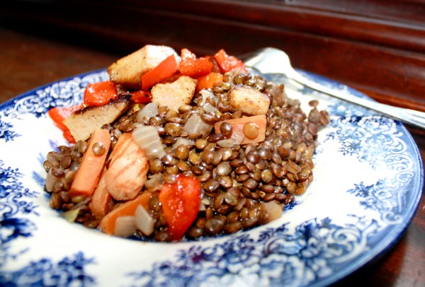 Legumes French puy with pork bell pepper
