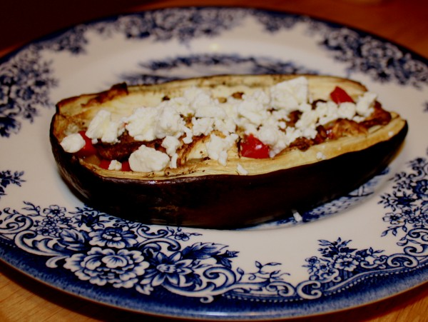 Eggplant stuffed with salted lemon bell pepper feta cheese