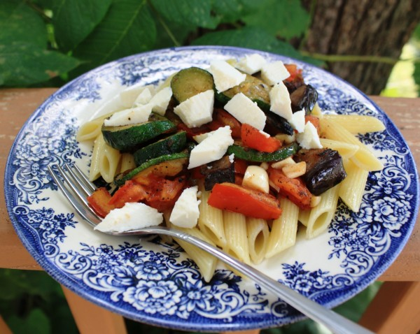 Pasta seasonal Penne w vegetables manouri cheese