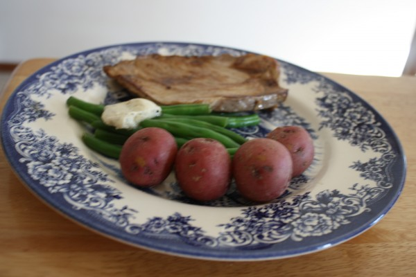 Pork roast with green beens & red potatoes