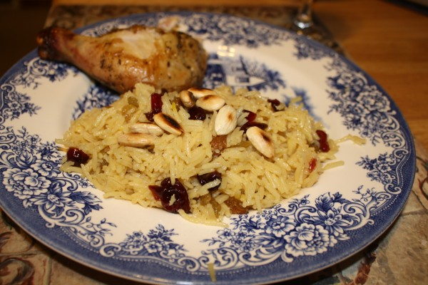 Roasted chicken with jeweled saffron rice with almonds