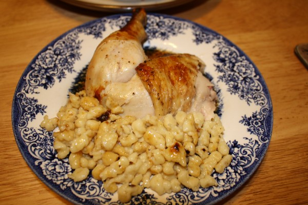 German literature Roasted chicken with spaetzle