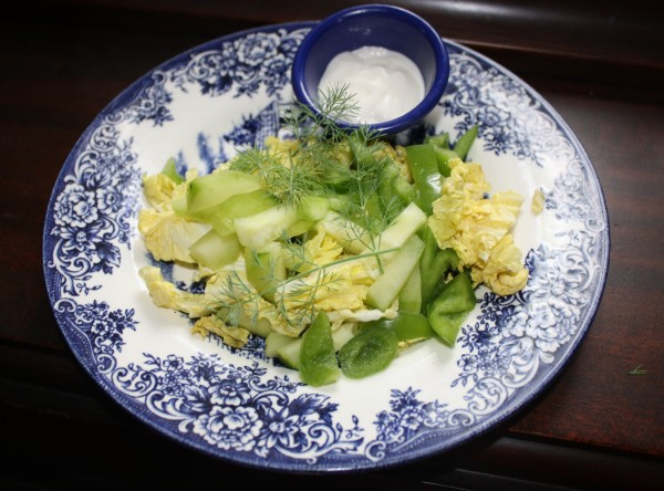 Cabbage napa salad w cucumber bell pepper