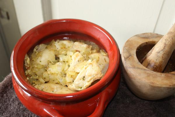 Spanish cuisine Lemon Chicken w ginger & pine nuts