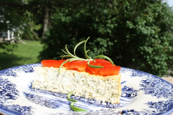 Cheesecake savory with herbs