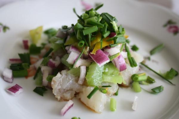Tartar fish cod rhubarb