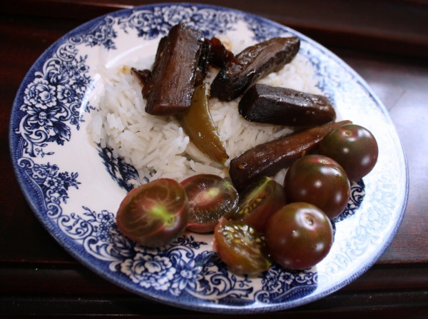 Eggplant stir-fry with bell peppers