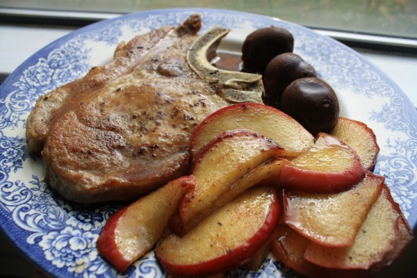 Pork chop coffee plum marinade sauce