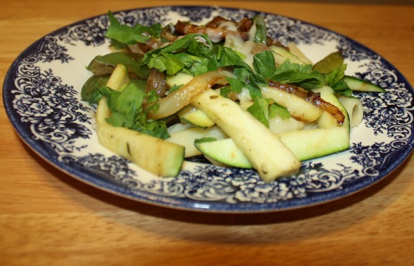 Pasta Penne with green vegetables