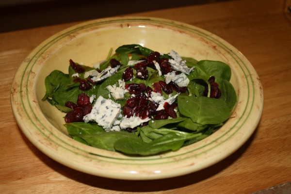 Spinach cranberries blue cheese salad