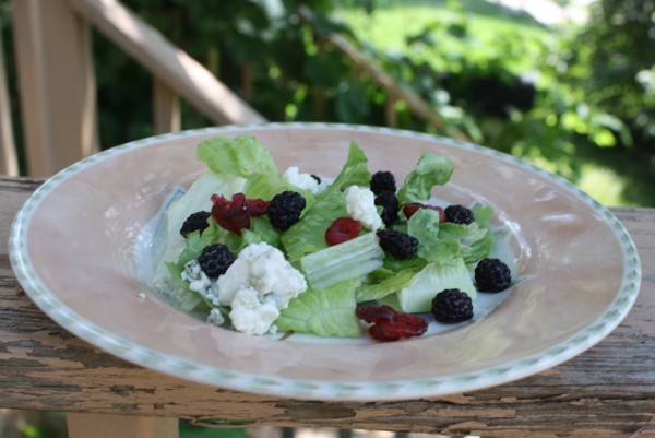 Salad romano blue cheese balck raspberries dried cranberries
