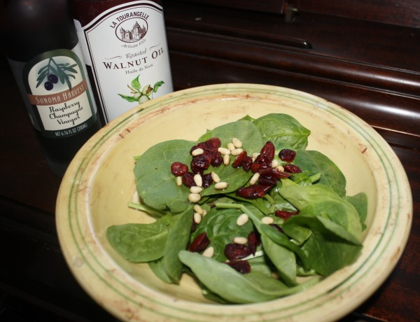 Spinach cranberries pine nuts walnut oil champaigne vinegar