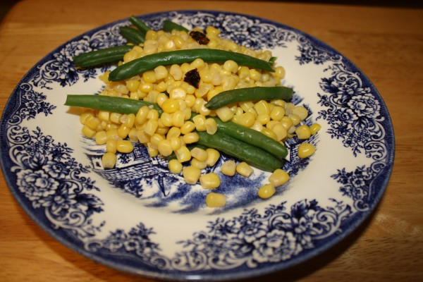 Corn with breen beens with morita peppers