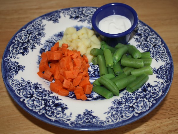 Salad carrots parsnips green beans blue cheese dressing