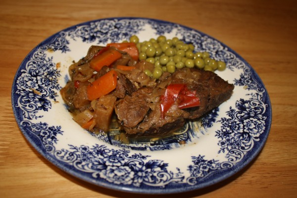 Beef with vegetables cooked in apple wine