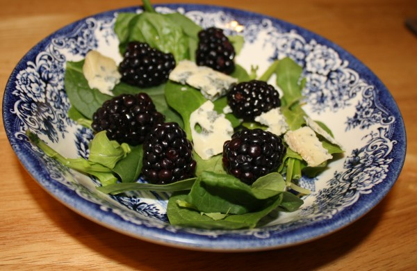 Salad spinach arugula blackberries french blue cheese from raw milk