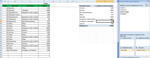 семейный бюджет таблица