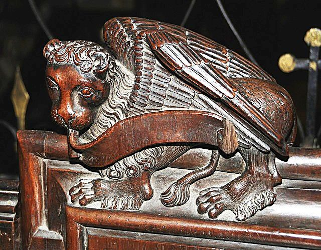 The choir stalls of the Collegiate Church of St. Ursus, Aosta, Italy. Misericords and sculptures_5