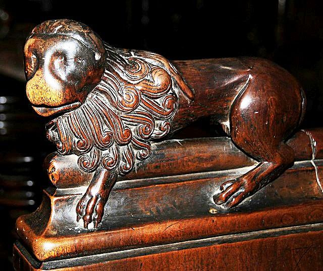 The choir stalls of the Collegiate Church of St. Ursus, Aosta, Italy. Misericords and sculptures_8