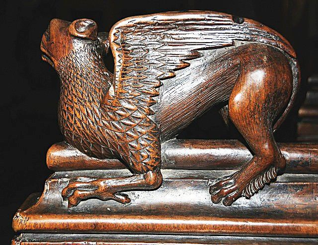 The choir stalls of the Collegiate Church of St. Ursus, Aosta, Italy. Misericords and sculptures_9