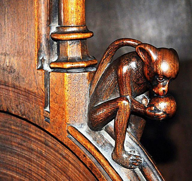 The choir stalls of the Collegiate Church of St. Ursus, Aosta, Italy. Misericords and sculptures_15