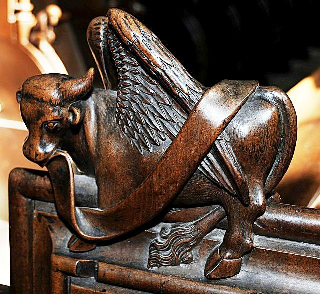 The choir stalls of the Collegiate Church of St. Ursus, Aosta, Italy. Misericords and sculptures_16